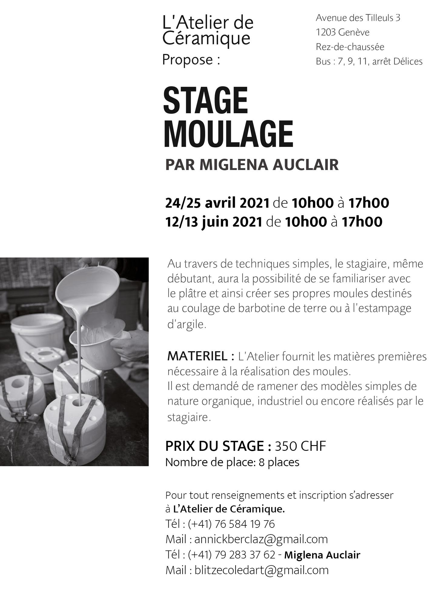 stage moulage plâtre objets porcelaine Genève