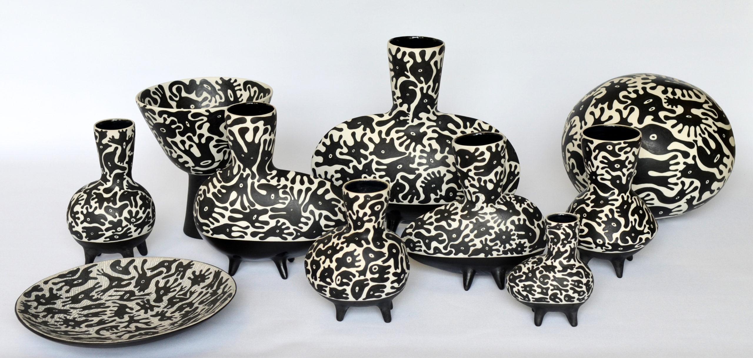 Ensemble céramique noir blanc